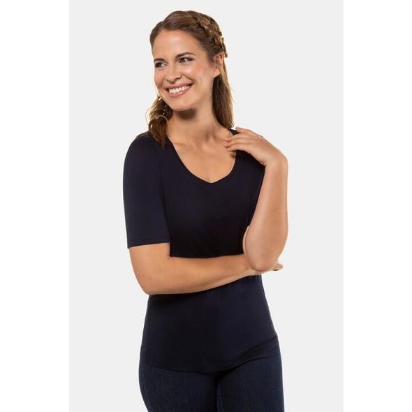 Gina Laura T-Shirt, weiter Rundhalsausschnitt, Elasthan