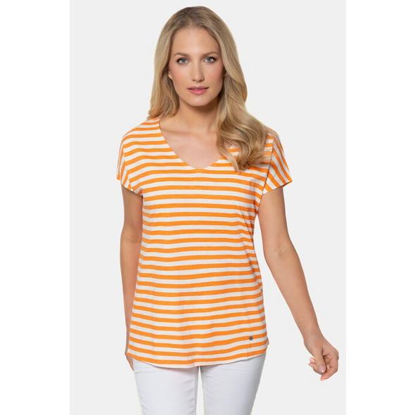 Gina Laura T-Shirt, Ringelmix, Oversized, V-Ausschnitt