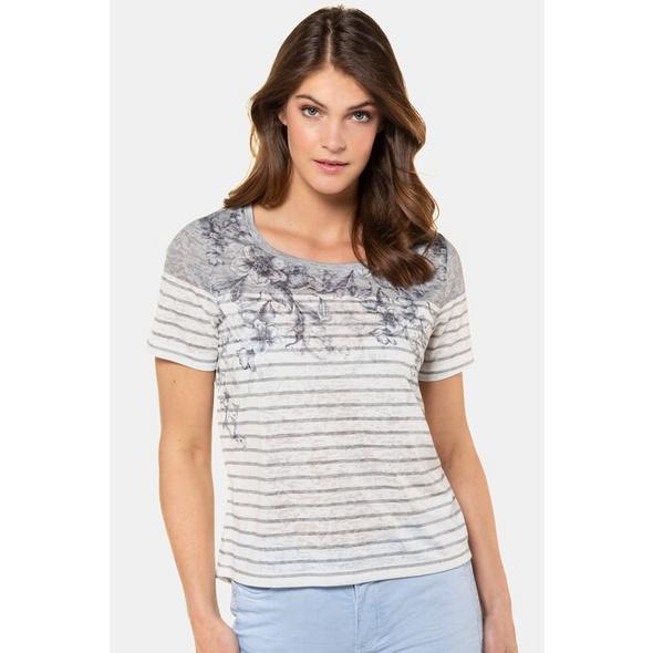 Gina Laura T-Shirt, Ringel, Blütenmotive, Ausbrennerjersey
