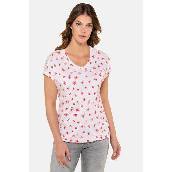 Gina Laura T-Shirt, geblümt, Oversized, Schulterspitze, Gummisaum