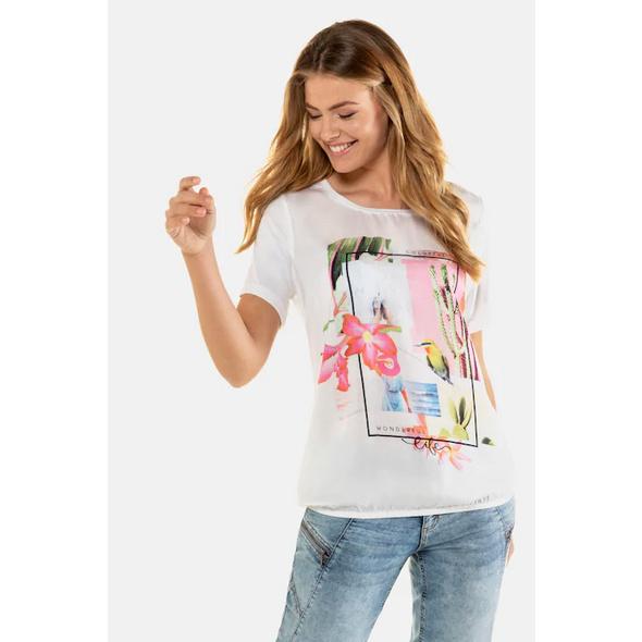 Gina Laura T-Shirt, Blütenmotiv, Rundhalsausschnitt