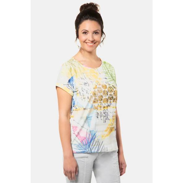 Gina Laura T-Shirt, Punkte, Palmenblätter, Flammjersey