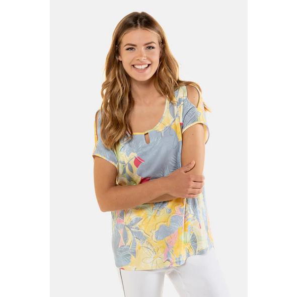 Gina Laura T-Shirt, gemustert, Ärmel oben geschlitzt