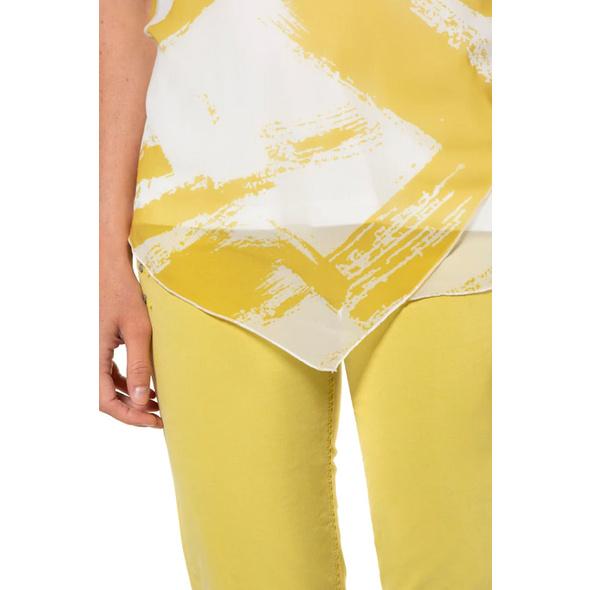 Bluse, Pinselstrich-Muster, Chiffon-Oberlage, Jerseytop