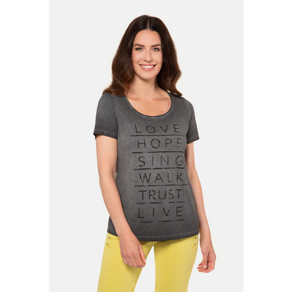 Gina Laura T-Shirt, Schriftmotiv, lässig weit, Rollkante