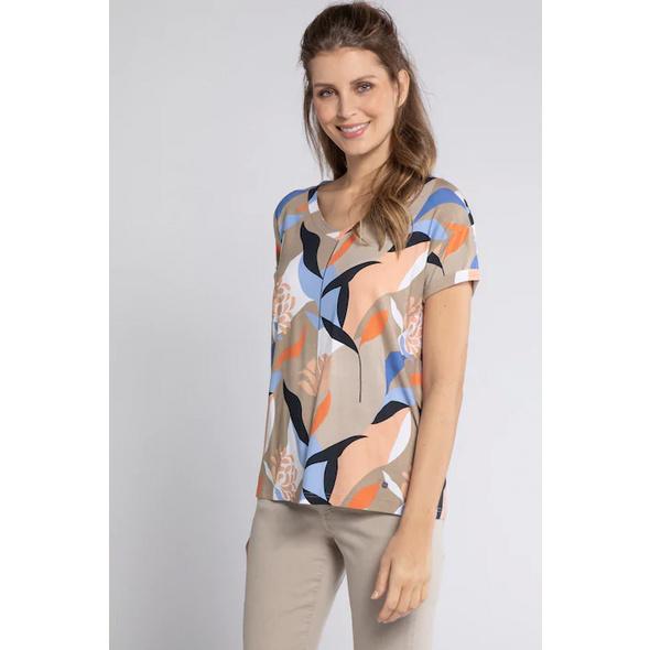 Gina Laura T-Shirt, Blättermuster, Oversized, Viskose