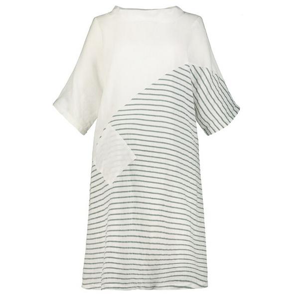 Kleid, teils geringelt, 3/4-Arm, Leinen