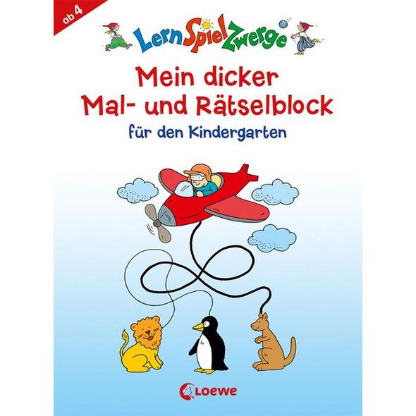 LernSpielZwerge - Mein dicker Mal- und Rätselblock für den Kindergarten
