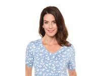 T-Shirt, gemustert, V-Ausschnitt, Ärmel-Raffung