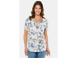 Gina Laura T-Shirt, geblümt, Wasserfall-Ausschnitt, Ausbrenner