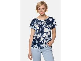 Gina Laura T-Shirt, Blütenmuster, Rücken geringelt, Materialmix