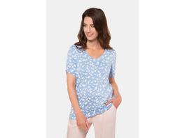 Gina Laura T-Shirt, gemustert, V-Ausschnitt, Ärmel-Raffung