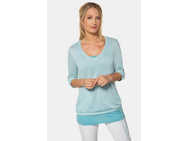 Gina Laura Pullover, Ringel, Saumband, inklusive Top, 3/4-Arm